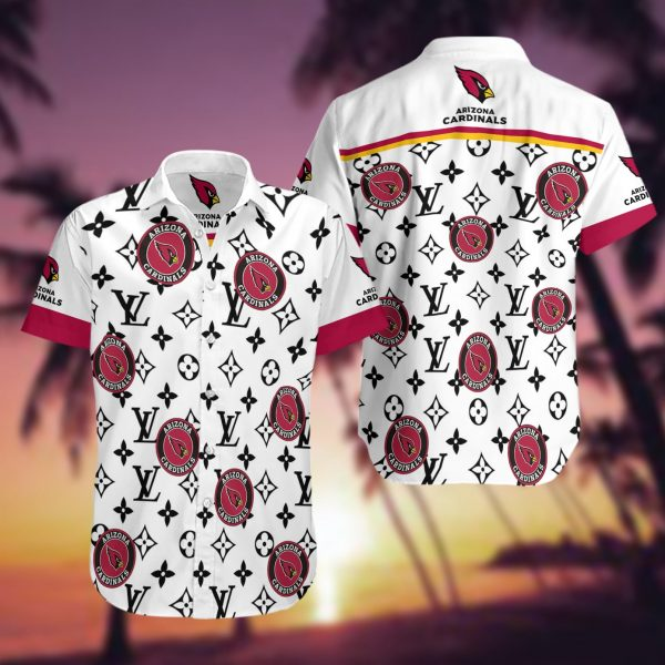 Arizona Cardinals Summer Short Sleeve Hawaiian Beach Shirt