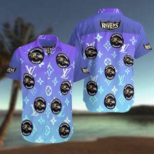 Baltimore Ravens Summer Short Sleeve Hawaiian Beach Shirt