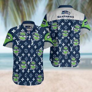 Seattle Seahawks Summer Short Sleeve Hawaiian Beach Shirt