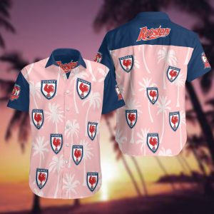 Sydney Roosters Summer Short Sleeve Hawaiian Beach Shirt