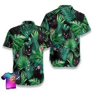 Tropical Black Cat Summer Hawaiian Shorts
