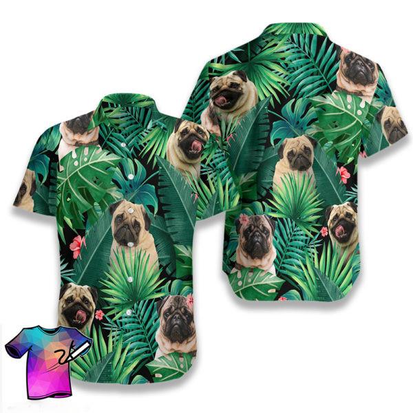 Tropical Pug Summer Hawaiian Shorts