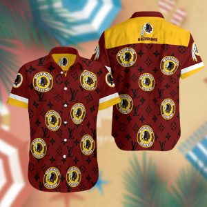 Washington Redskins Lv Summer Short Sleeve Hawaiian Beach Shirt