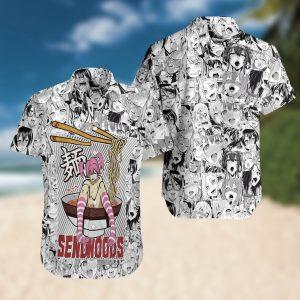 Sendnoods Summer Short Sleeve Hawaiian Beach Shirt