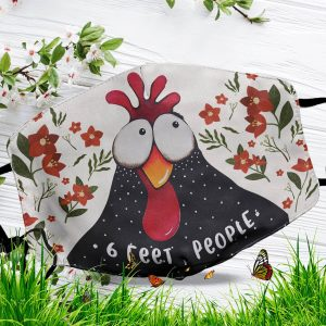 6 Feet People Chicken Art Over Printed Face Mask